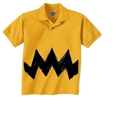 New Polo Shirt Childs Cartoon Charlie brown Black Zig Zag BOYS Halloween Costume