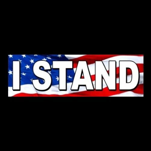 """""""I STAND"""" for National Anthem BUMPER STICKER gun rights PRO FLAG Anti Liberal"""
