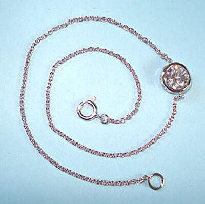 Anklet STERLING SILVER .925 NEW Bezel Set CZ Designer Look Ankle Bracelet USA