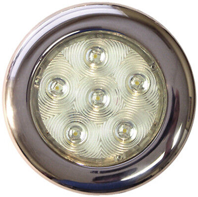 4 Inch White LED Color Stainless Flush Mount Courtesy, Accent and Utility Light