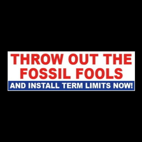 """""""THROW OUT THE FOSSIL FOOLS - TERM LIMITS NOW"""" Anti Pelosi McConnell STICKER"""