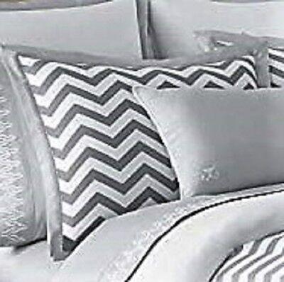 JILL ROSENWALD Standard Pillow Sham BUCKLEY Reversible, Gray & White Chevron NEW