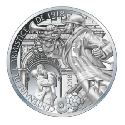 france 10 euros argent centenaire de l'armistice 2018 unc silver coin