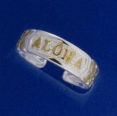 Hawaiian 925 Sterling Silver ALOHA Scrolling Toe Ring Yellow Gold Plate # TR1105