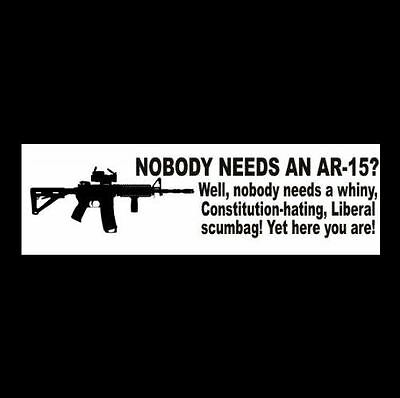 Funny AR-15 gun rights BUMPER STICKER patriot NRA pro 2nd Amendment WINDOW DECAL