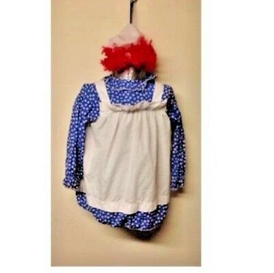 Homemade Raggedy Doll Costume with Bonnet Yarn Hair Rag Used