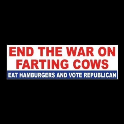 "Funny ""END THE WAR ON FARTING COWS"" Anti Alexandria Ocasio-Cortez BUMPER STICKER"