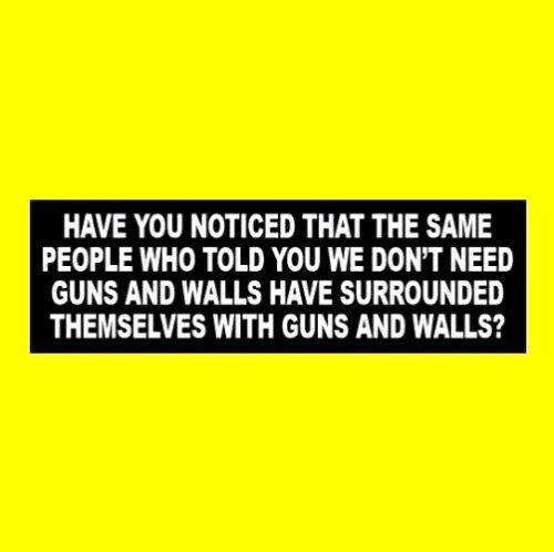"Funny ""HYPOCRITICAL GUNS & WALLS"" Anti Joe Biden STICKER liberal pro gun rights"