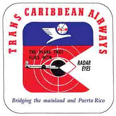 Trans Caribbean Airlines    Vintage 1950S Style   Travel Sticker Decal Label