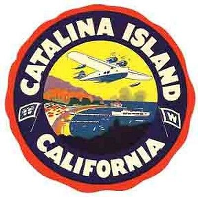 - Santa Catalina Island  CA  Vintage 1950's Style   Travel Decal sticker Label