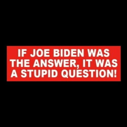 """""""IF JOE BIDEN WAS THE ANSWER, IT WAS A STUPID QUESTION"""" Anti Joe BUMPER STICKER"""