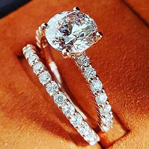 2.00 Ct Round Cut Diamond Engagement Ring & Band Set H,VS2 GIA 18K WG Natural