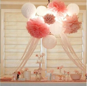 Wedding decorations 10 tissue paper pompoms - 2 sizes - party - pom poms