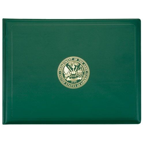 US Army Award Certificate Binder, 8 1/2 x 11, Army Seal, Green/Gold 614887101165