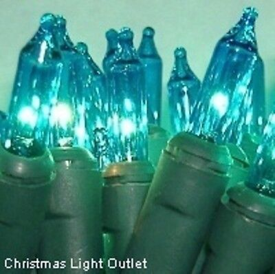 100 Mini Teal/Turquoise In/Outdoor Christmas String Lights Set 23foot Green Wire
