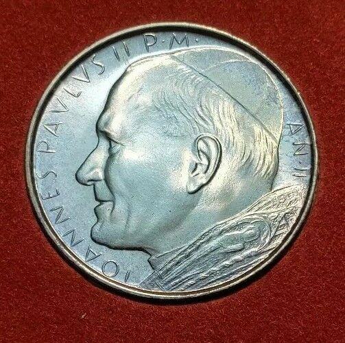 1980 (GEM-BU) II Vatican City 500 Lire John Paul II World Silver Coin