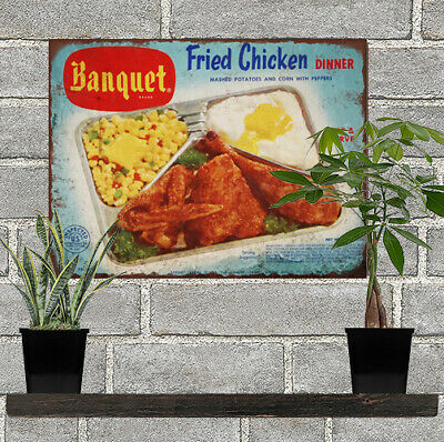 1950s Banquet Fried Chicken TV Dinner Man Cave Metal Sign Repro 9x12