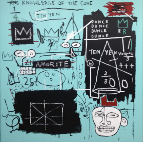 Large 60W x 60H Abstract Painting On Canvas Jean Michel Basquiat