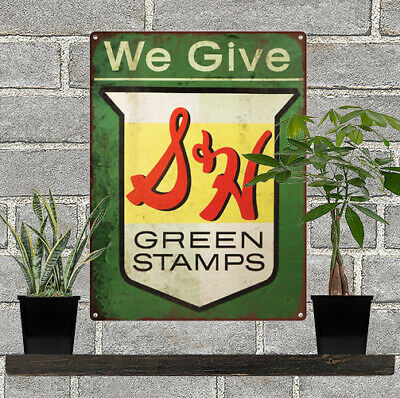 S&H Green Stamps Metal Sign Ad Repro 9x12