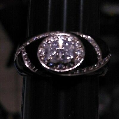 HIDALGO 925 STERLING SILVER DIAMONIQUE BLACK ENAMEL CZ Cubic Zirconia RING SZ 9