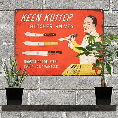 1920s Keen Kutter Butcher Knives Ad Baked Metal Repro Sign 9 x 12 60123