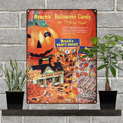 1958 Brach's Halloween Trick or Treat Candy Haunted Metal Sign Repro 9x12
