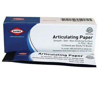 Dental Articulating Paper Extra Thin Blue 12 Books X 12 Sheets 144 9501454