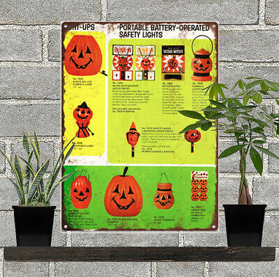 Vintage Halloween Blow Mold Advertising Ad Baked Metal Repro Sign 9 x 12 60129