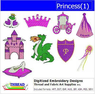 Embroidery Design Set - Princess(1) - 9  Designs - 9 Formats - USB Stick ()