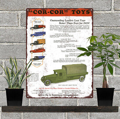 Us Army Ice - 1928 Cor-Cor Toy Ice Fire Truck Bus Van COLOR US Army Metal Sign 9x12
