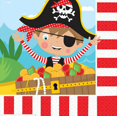LITTLE PIRATE Happy Birthday Party supplies lunch dinner PAPER NAPKINS - Pirate Birthday Party Supplies