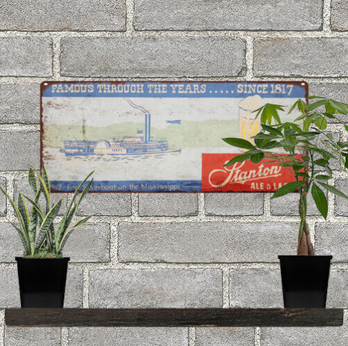 "1940s Stanton Beer & Ale Steam Boat Brewery Man Cave Metal Sign 5x12"" 60606"