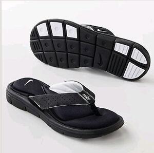 Nike-354925-011-Womens-Comfort-Flip-Flops-Black-White-Womens-5-6-7-8-9-10-11-12