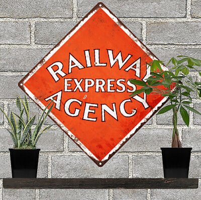 "Railway Express Agency Metal Sign Ad Repro Train Garage Shop 12x12"" 60211"