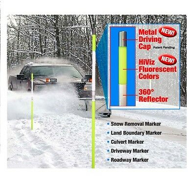 "12 Driveway Snow YELLOW Reflective Markers Poles 48"" for sale  Beacon Falls"