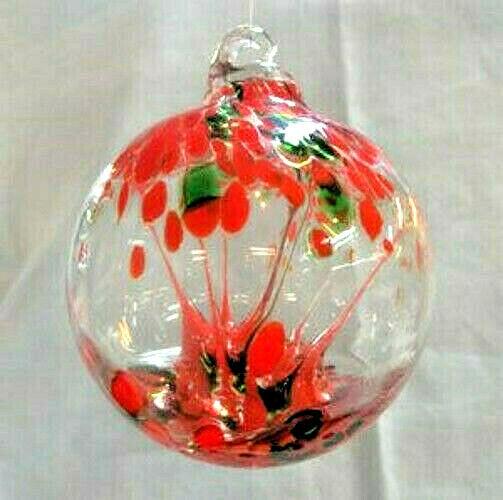 "Hanging Glass Ball 4"" Diameter ""Christmas Tree"" Witch Ball (1) GB2"