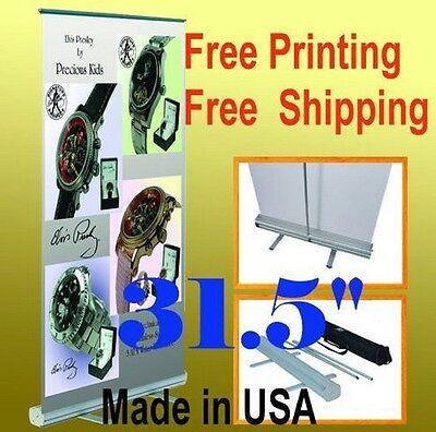 32 X 78 Retractable Free Graphic Printing Roll Up Banner Stand Trade Show Pop