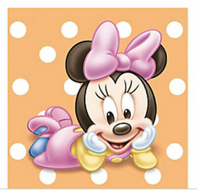 BABY MINNIE MOUSE 1st birthday PAPER beverage NAPKINS first party supplies 16pc](Minnie Mouse 1st Birthday Decorations)
