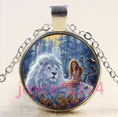 Butterfly fairy and Lions Cabochon silver Glass Chain Pendant Necklace #4446 (Butterflies And Fairies)