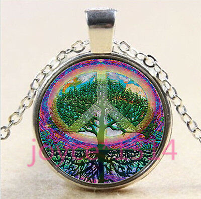 Tree Of Life Symbols (Peace Symbol Tree of Life Cabochon silver Glass Chain Pendant Necklace #4371 )