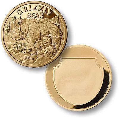 Grizzly Bear Challenge Coin Wildlife Token Gold Brown Alaska Alaskan Cubs Large