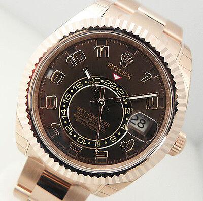Rolex Sky Dweller 326935 18k Everose Gold Chocolate Sunray Arabic Dial 42mm