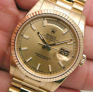 BRAND NEW MENS 18K YELLOW GOLD ROLEX PRESIDENT DAY DATE CHAMPAGNE DIAL 118238