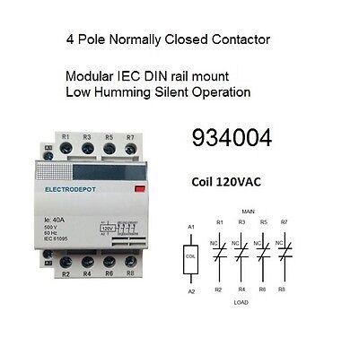 40 Amp Contactor Normally Closed Nc 4 Pole 120v Coil 30a 40a 50a 60a Open Box