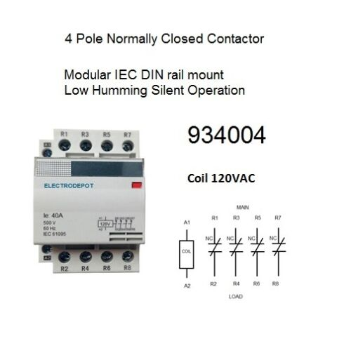 40 AMP Contactor Normally Closed NC 4 Pole 120V coil, 30A 40A 50A 60A OPEN BOX