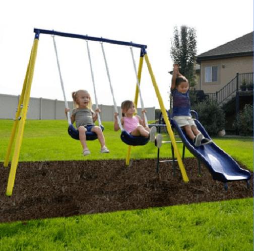 METAL SWING SET Kids Playground Slide Outdoor Backyard Plays
