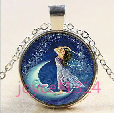 Fairy on the moon Cabochon Tibetan silver Glass Chain Pendant Necklace #3372 - The Moon Fairy