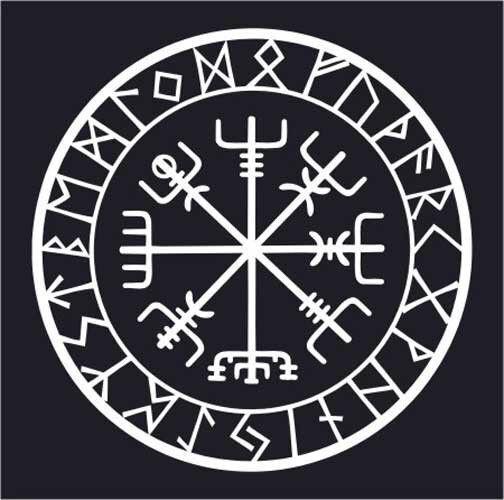 Viking Compass Asatru Rune Vegvisir Talisman Heathen Vinyl