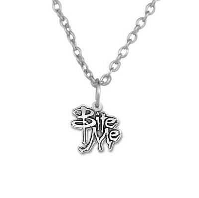 Bite Me Halloween Vampire Silver Tone Necklace - Vampire Look Halloween