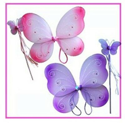Princess Wands Wholesale (Wholesale Lot - 100 Lavender Fairy Princess Butterfly Wings & Wand Costume Sets)